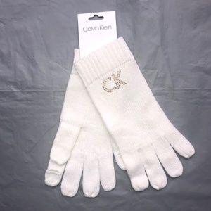 Calvin Klein WomensStudded  Logo Knit Gloves.NWT!